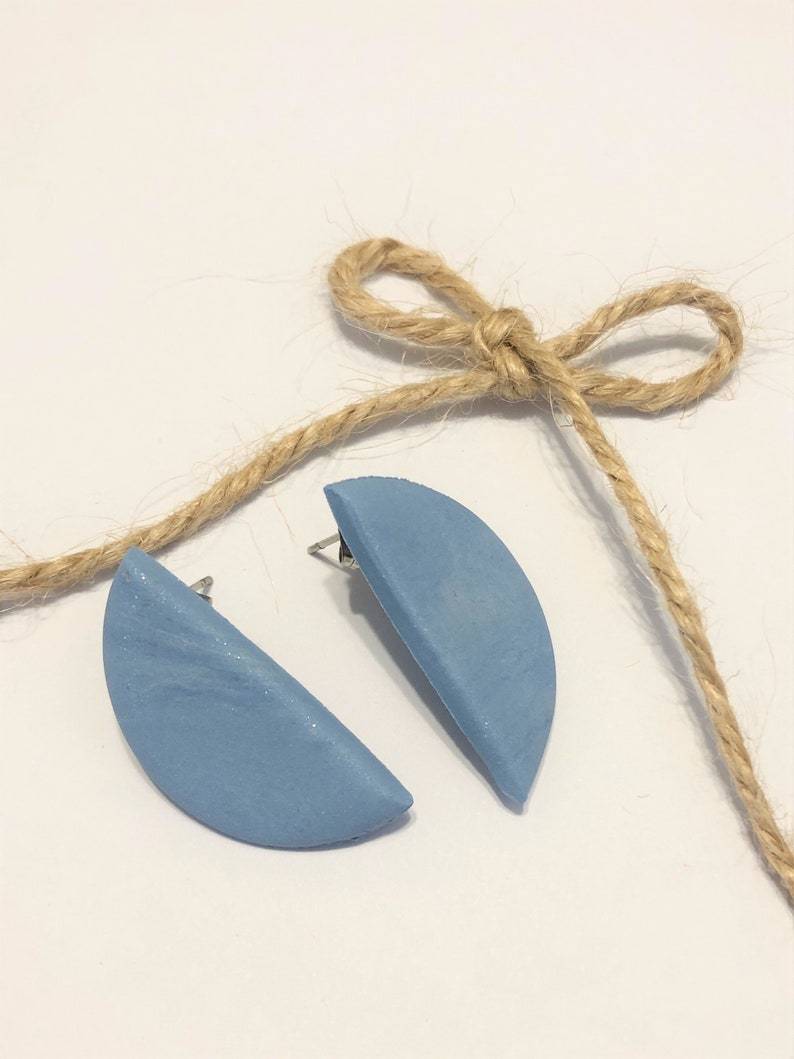 Blue Shimmer Clay Half Moon Stud Earrings