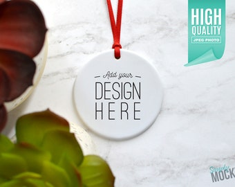 Download Free Round Porcelain Christmas Ornament, Christmas Mockup   Add your own image template - High quality digital download PSD Template