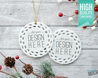 Download Free Round Open Work Porcelain Christmas Ornament, Christmas Mockup Double Sided | Add your own image template - High quality digital download PSD Template