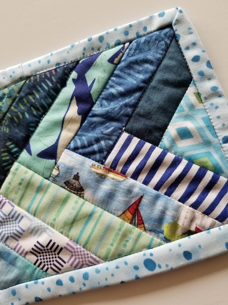 Navy Nautical Sea Blue Rug Mug Aqua Lake Braided Teal Criss Cross Seaside Mug Rug Kit Ocean Snack Mat quilt pattern