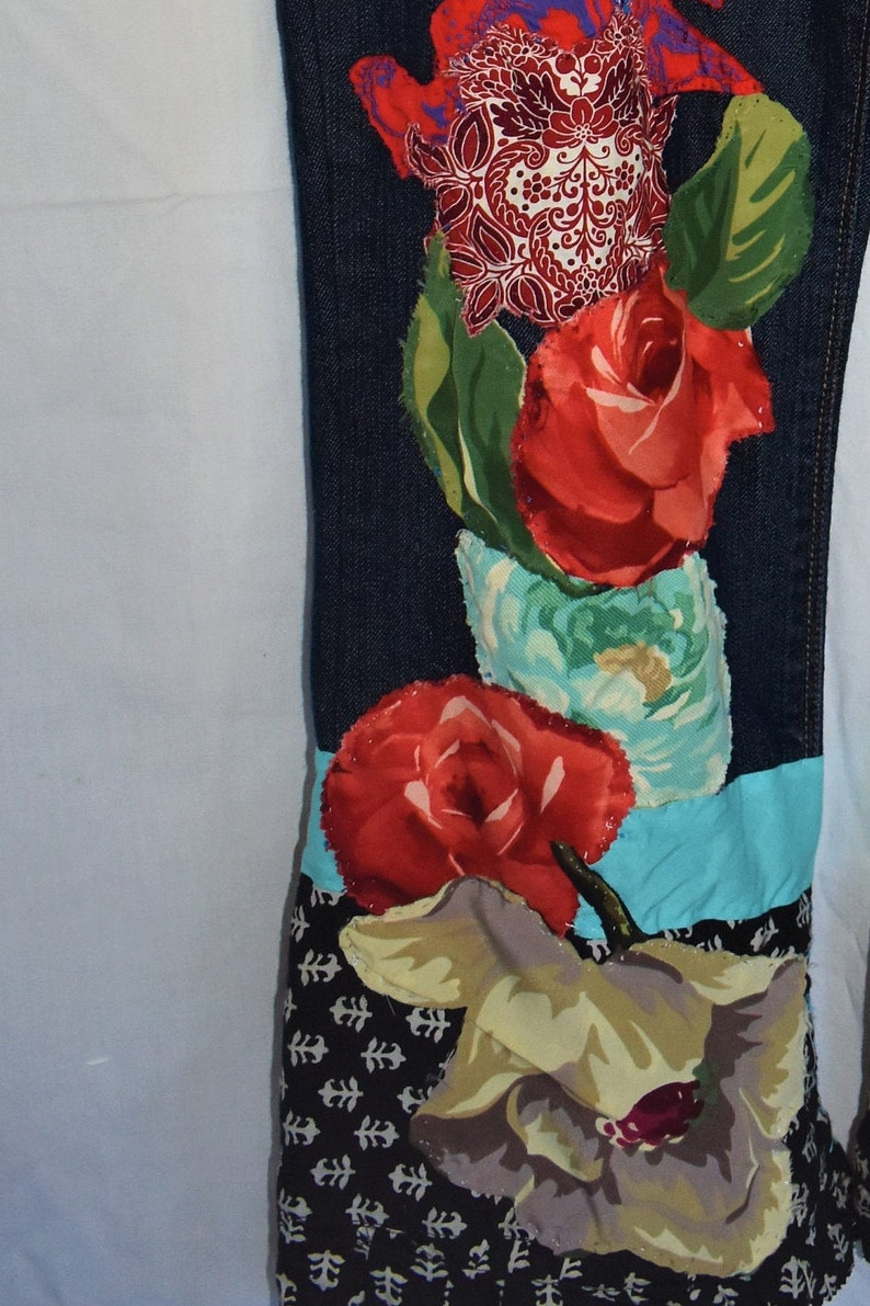 collage art that you can wear. Jeans that become  fashionable