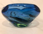 Murano Colbalt Blue and Green Ombré Style Bowl 1970 s
