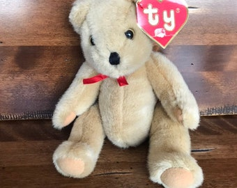 68c55f65cf4 Ty Jointed Bear. Plush Beanie Bear. 1987 Rare Original Vintage with tag.