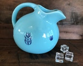 Cronin Pottery Blue Vintage Glazed Ball Jug or Pitcher. Made in USA 1970 s
