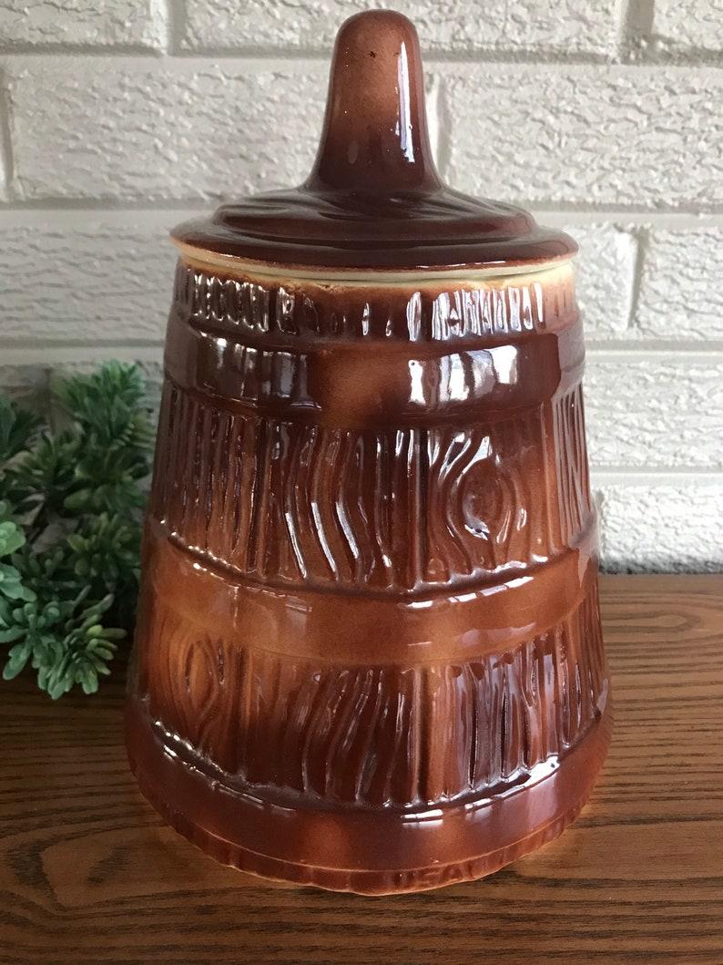 Cookie Jar Butter Churn Antique American Bisque Pottery 194050\u2019s Farmhouse Gorgeous!