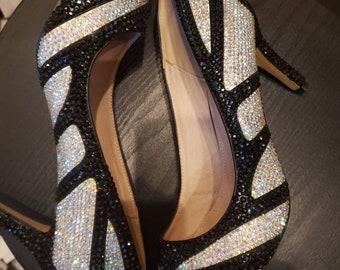 79e399ad0fc3 Black and White Rhinestone Heels