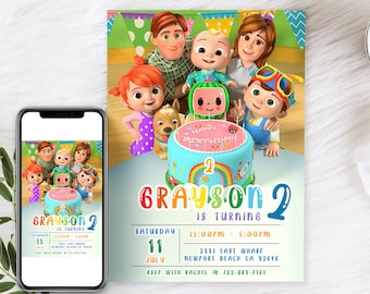 Digital Cocomelon Birthday invitation | Cocomelon invites | E-invite | Digital invite | Card Invite | Boy birthday | Girl Birthday