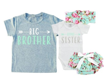 f4d04dcea3fff Big Brother/Little Sister Matching Sibling Set. Baby Shower Gift. Take Home  Outfit. Matching Sibling Set