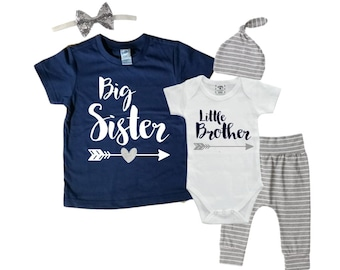 d8aed7c36b58 Big Sister/Little Brother Matching Sibling Set. Baby Shower Gift. Take Home  Outfit. Matching Sibling Set