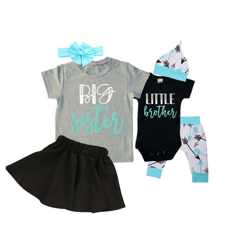 Baby Shower Gift Big SisterLittle Brother Matching Sibling Set Matching Sibling Set Take Home Outfit