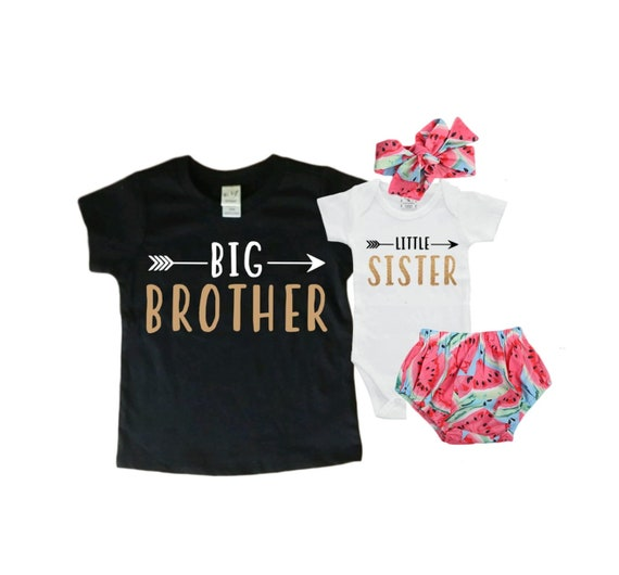 Baby Shower Gift Take Home Outfit Big SisterLittle Brother Matching Sibling Set Matching Sibling Set