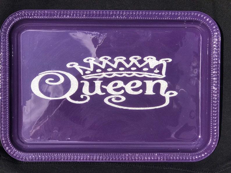 Custom Purple Queen 5.5 x 9 Metal Rolling Tray