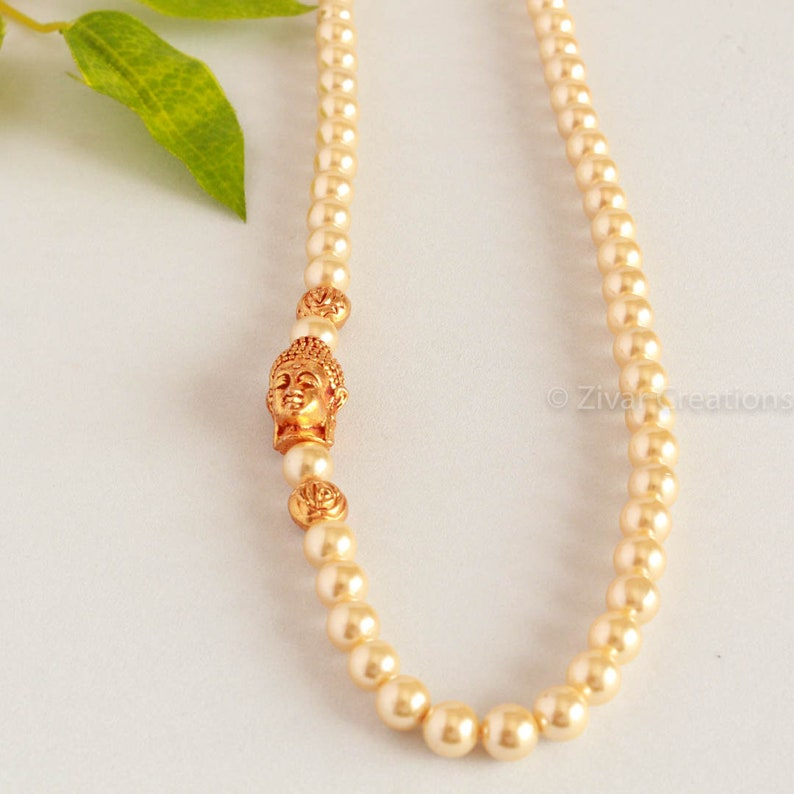 indian jewellery Pearl Necklace indian necklace Pearl and One sided Buddha Pendant Necklace