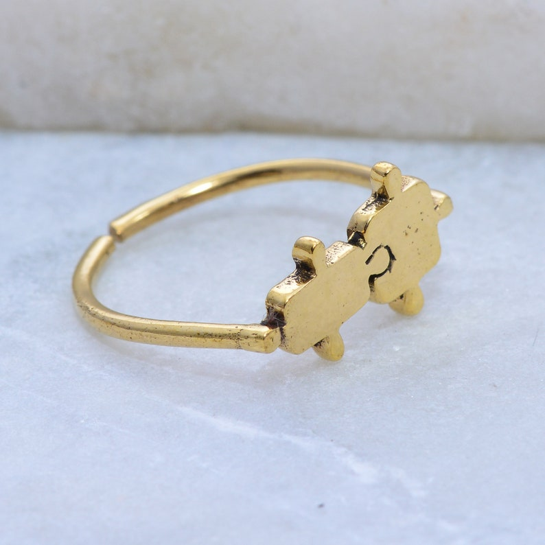 Gold Puzzle Ring *Puzzle Jewelry *Dainty Cute Ring *Puzzle Piece Jewelry *Puzzle Piece Ring *Autism Awareness *Tiny Puzzle Ring *Gold Ring