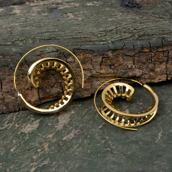 brass earrings hammered brass earrings bohemian earrings spirals earring