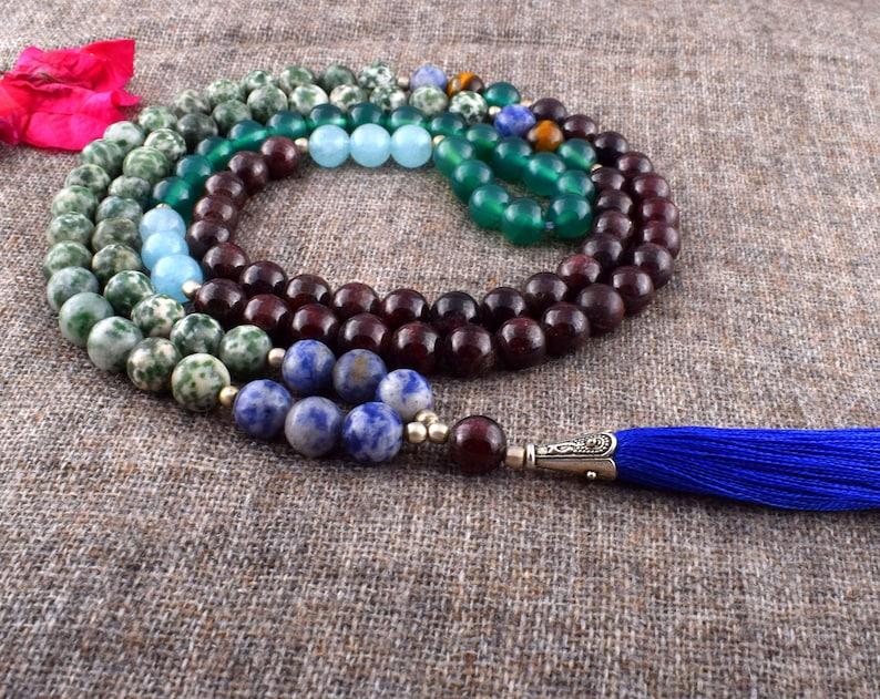 Real Bead Mala Hand Knotted Meditation Beads Fragrant Sandalwood /& Hematite Mala