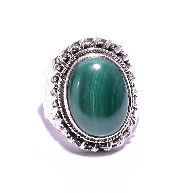 ring for girls handmade ring 925 sterling silver ring engagement ring Malachite gemstone women ring