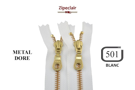 YKK A set of 5 white gold metal zippers suitable for bags  a71e36c3d
