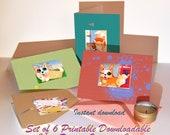 Dog postcard set, Dog greeting cat UK, Set of 6 digital animal prints, Funny corgi gift card, Whimsical English humour postcard pack