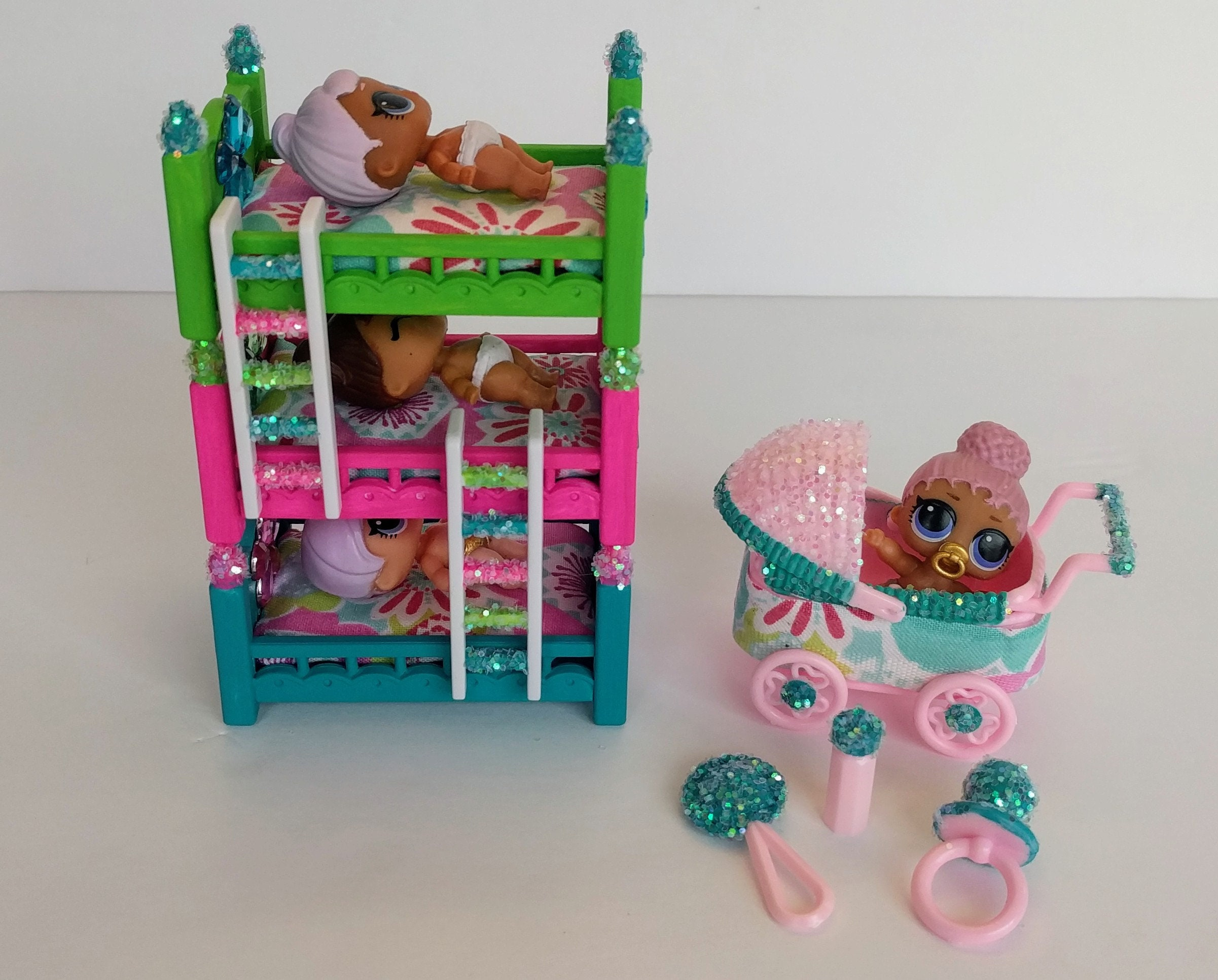 Lol Surprise Doll Custom Made Trio Bunk Beds And Stroller Set Etsy