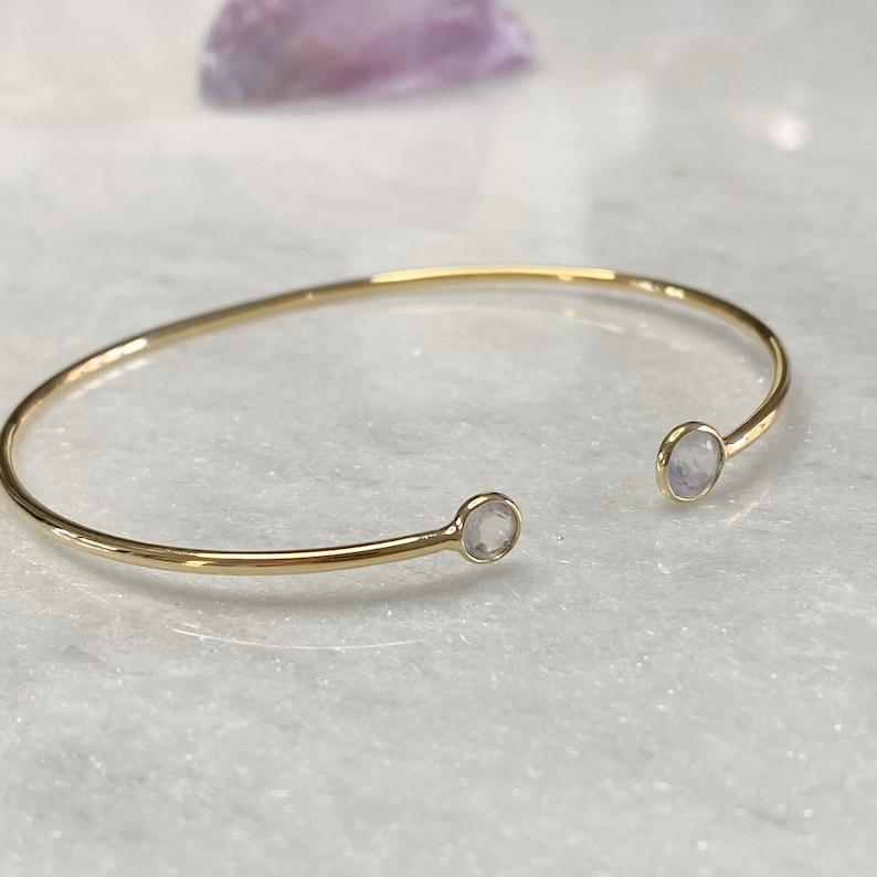 gold vermeil adjustable bangle Gemstone Gold cuff Gold cuff bracelet Gold gemstone bracelet Dainty Moonstone Gold Bangle