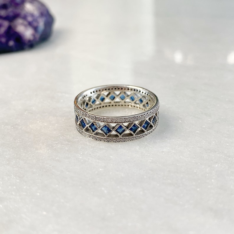 blue sparkling ring blue gemstone ring CZ simulated diamond band ring Sterling Silver 925 cubic zirconia ring silver pave ring