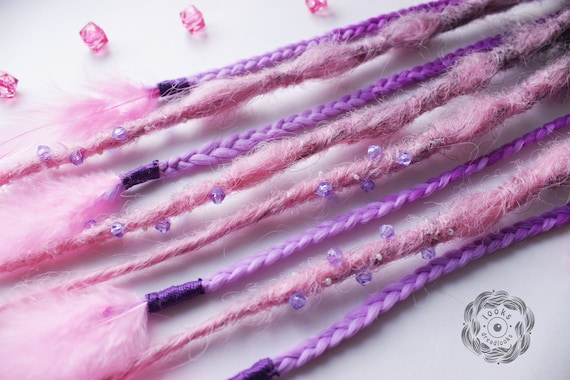 Clip In Dreadlocks Purple Bohemian Dreads Hair Feather Festival Extensions Hippy