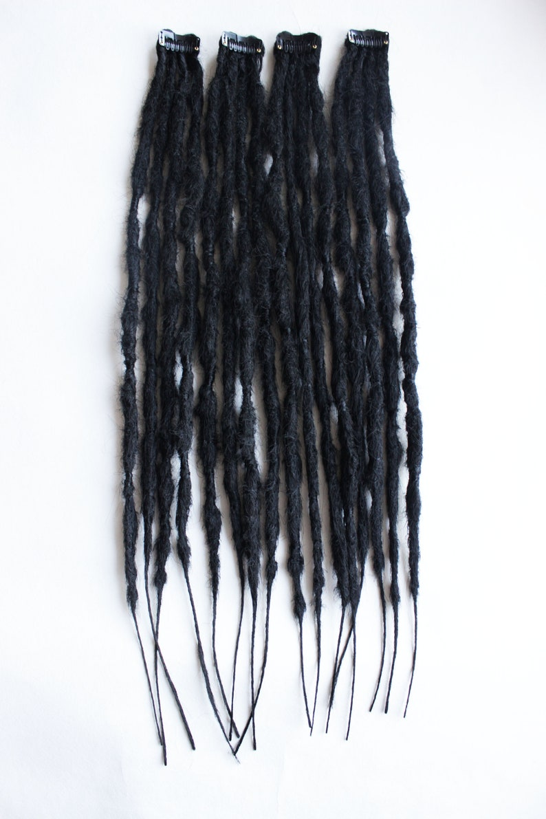 Hair accessories to party and holiday Black dreadlocks from synthetic kanekalon set of 4 clip. Clip in dreadlocks extensions 19,6 inch