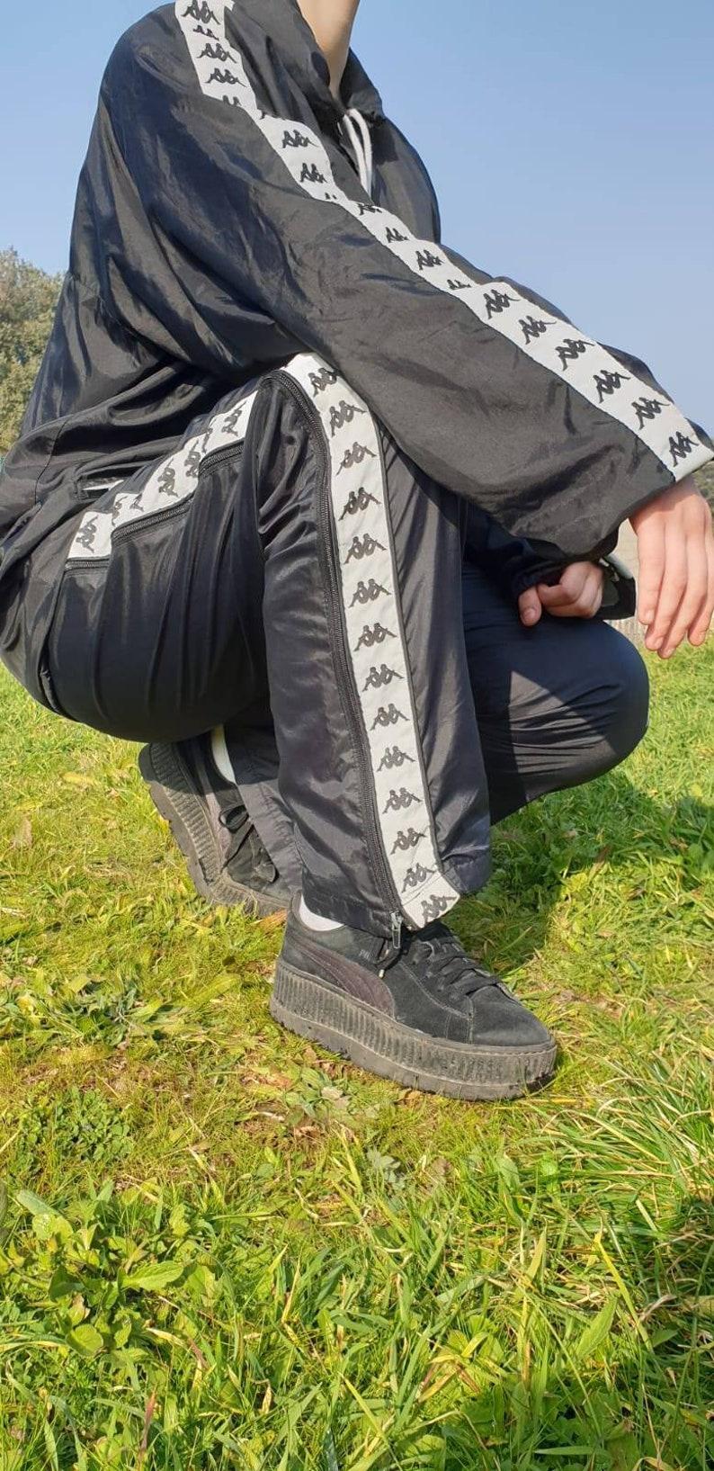 ee626d013d994 90s Kappa Tracksuit / Kappa Set / Mens Trackie / Sweater / Hoodie / Black /  Size XL L / Sweatshirt / Top / Tapered Logo / Vintage Kappa set