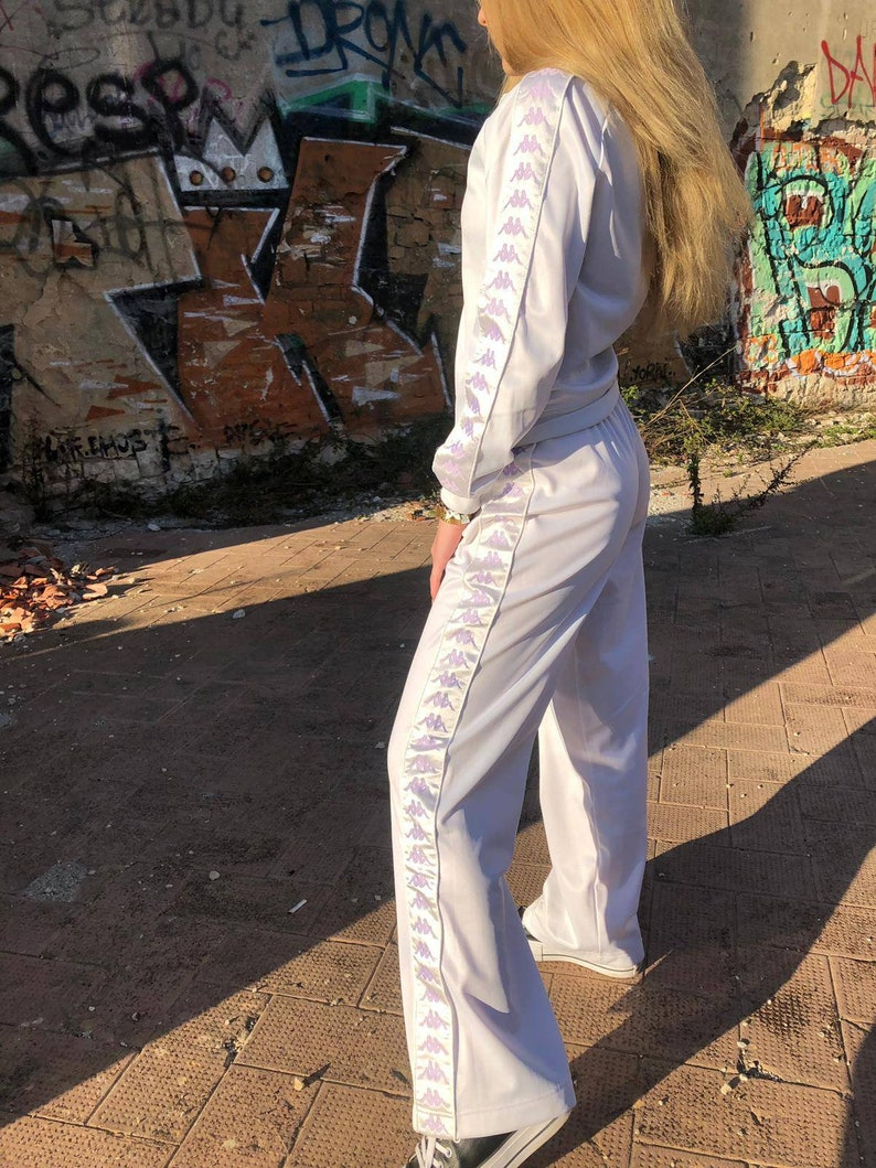 af711983d4cf8 Y2K Kappa Tracksuit / 2000s sportswear / Vintage Kappa / Logo Tape / Set /  Womens Sweatshirt Sweatpants Trackie / Size S / White / 90s