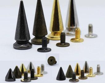 Trimming Shop Bronzes//Antique Brass High Cone Spike Studs Rivets Bronzes// Antique Brass 9Mm