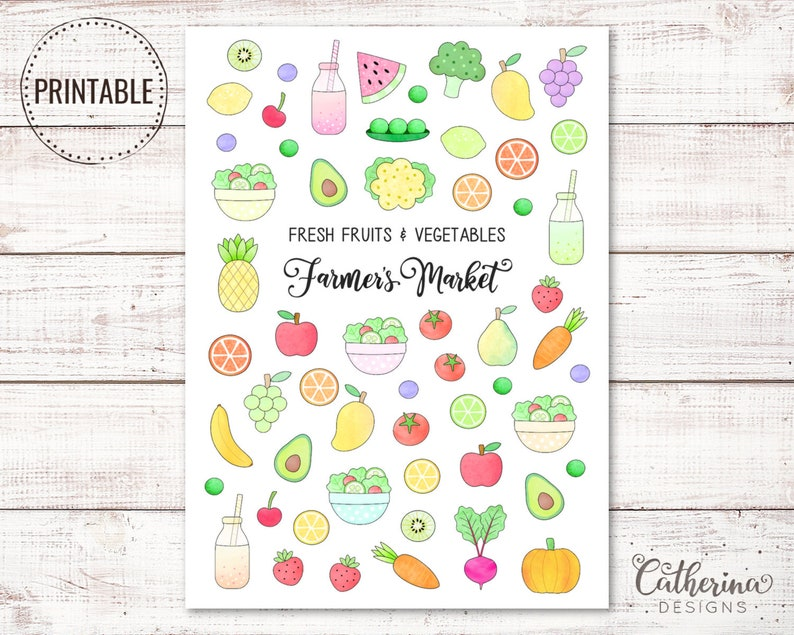 picture about Printable Fruit and Vegetables referred to as Doodle End result Vegetable Stickers - Printable