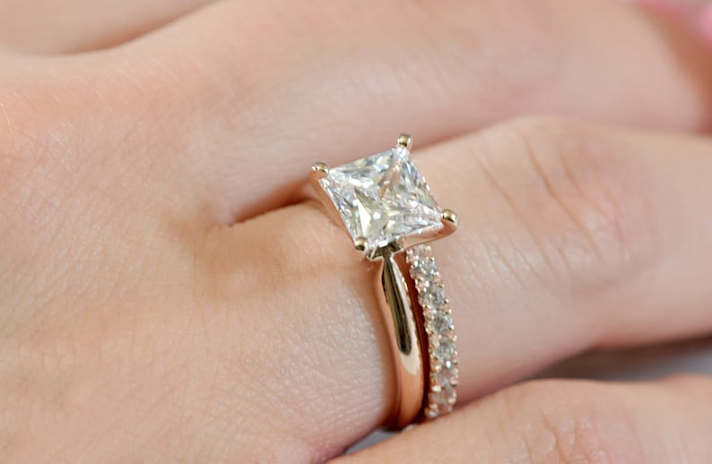 Princess Cut Simulated Diamond Engagement Ring and Matching Band in 14k Rose gold Plated Sterling Silver Wedding Bridal Set