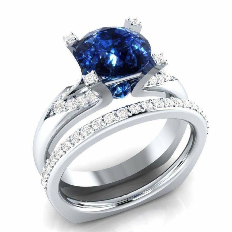 3.20Ct Blue Round Cut Simulated Diamond Engagement Wedding Ring 14k White Gold Over Sterling Silver