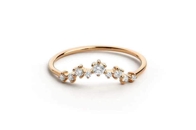 Beautiful Unique Simulated Diamond Curved Cluster Wedding Band Ring 14k Rose Gold Over Sterling Silver Lightweight Engagement Jewelry
