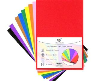 A4 Craft Foam Sheets EVA Foam Sheets Foam Paper Sponge Card for Art & Crafts DIY Scrapbooking Children Kids 2mm Thick 10 Assorted Colours