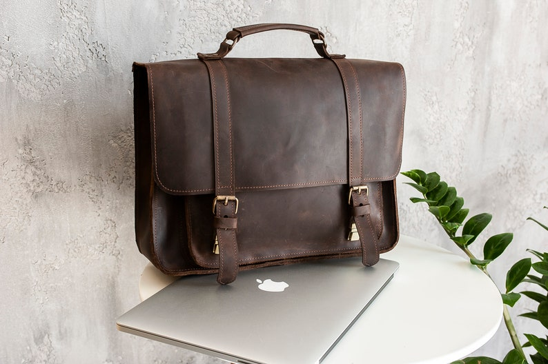 Convertible backpack for laptop Leather Personalized Briefcase Messenger bag or Backpack Gift for Dad Anniversary Gift for husband