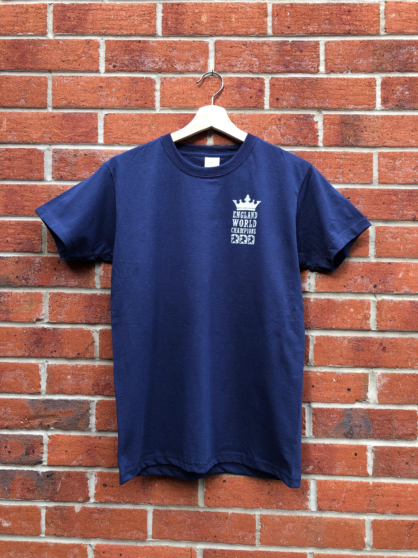 100/% England Cricket World Cup 2019 T-Shirt Mens Navy