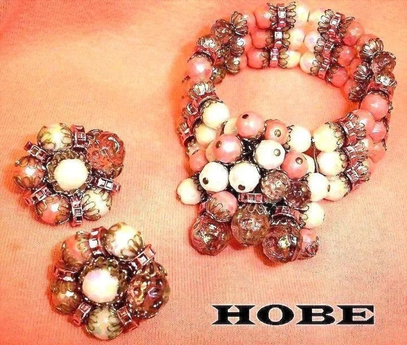 Bracelet and Earrings Set Vintage HOBE Demi Parure Estate Jewelry Circa 1950/'s
