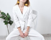 White linen pants and jacket suit / linen set/ linen suit/ linen pants and jacket suit women KL002-A
