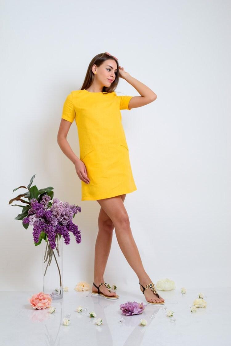 Linen dress, Shift linen dress, Yellow linen dress, Linen short sleeve  dress with pockets, Linen mini dress, Linen custom midi length dress