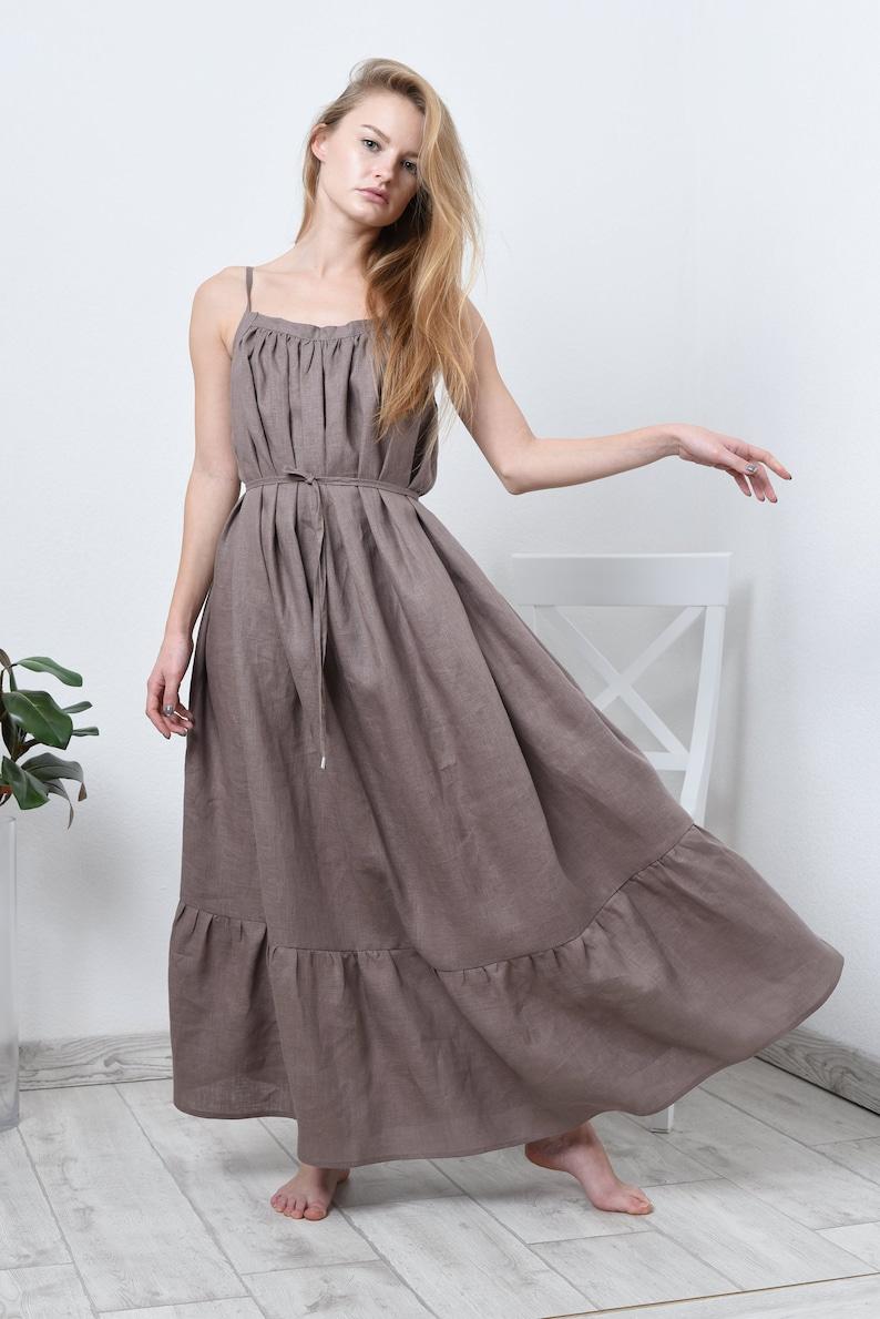 c69b951ecd Maxi linen dress in 17 colors/ linen pinafore dress/ summer linen maxi  dress #004-A