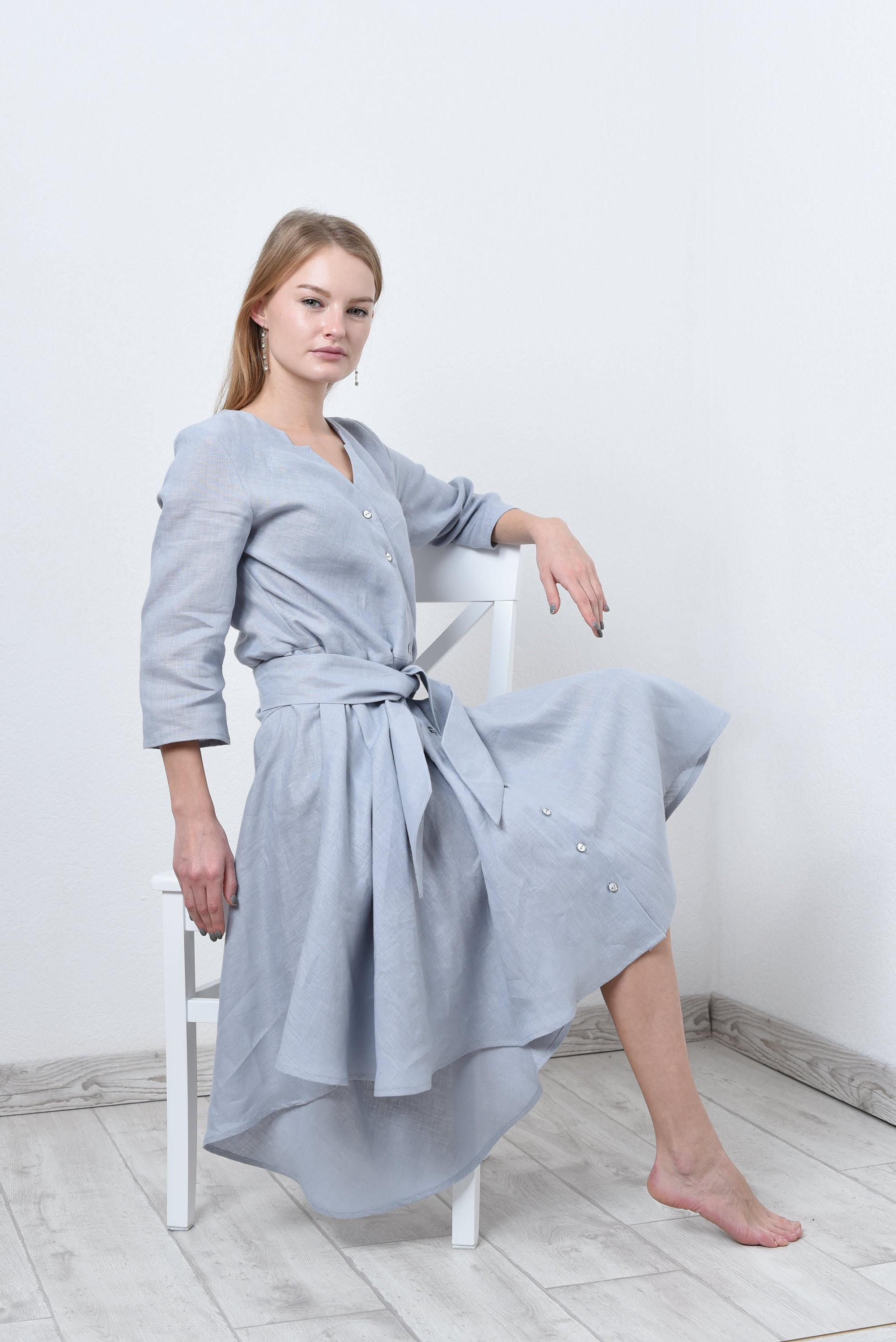 Loose Linen Shirt Dress Linen Dress Gray Linen Dress Etsy