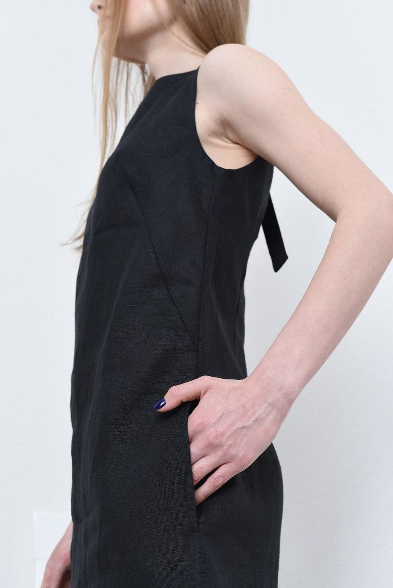 Leinen Kleid für Frauen kleine schwarze Leinen Kleid mit ...