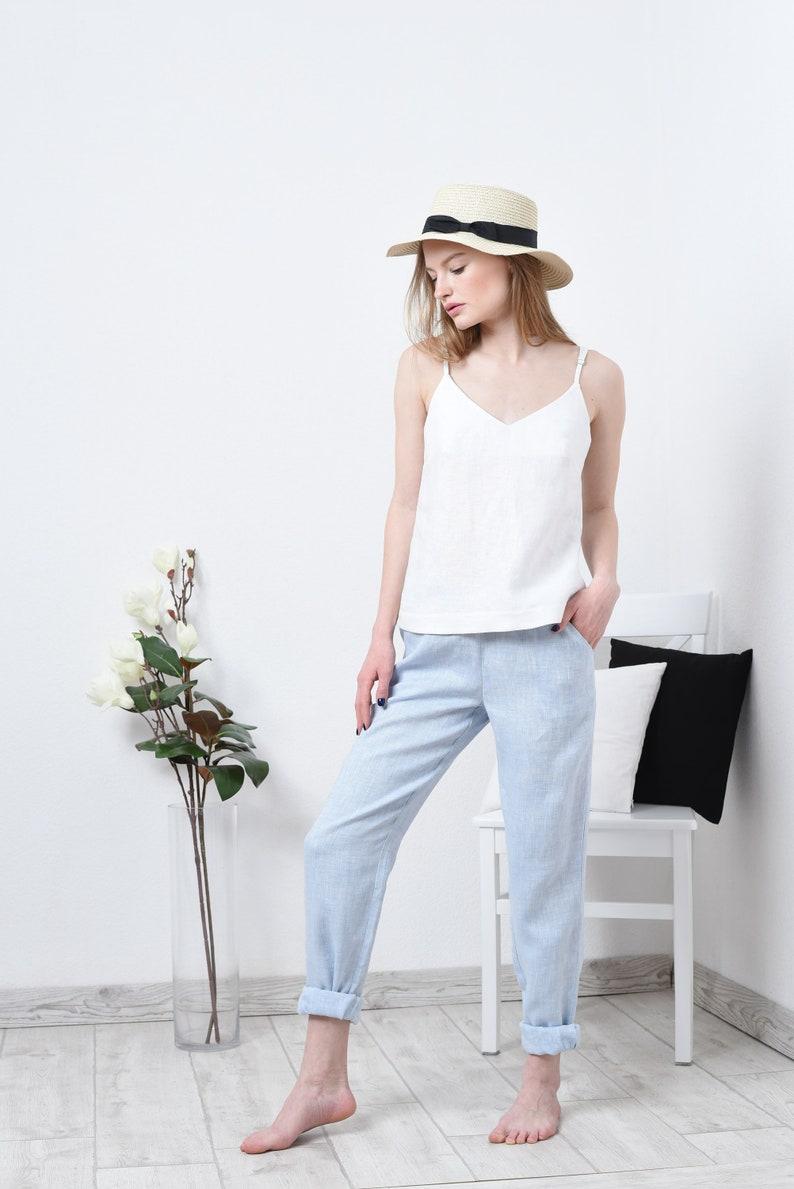 White soft basic linen top for women  Womens linen top linen summer tank top T002-D