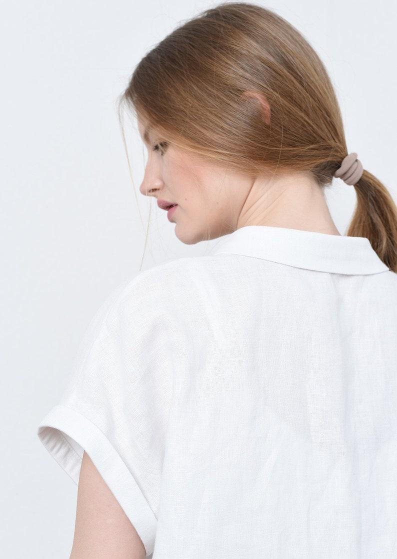 linen loose shirt basic linen top Three piece linen suit linen casual pants White linen suit for women Kl008-A