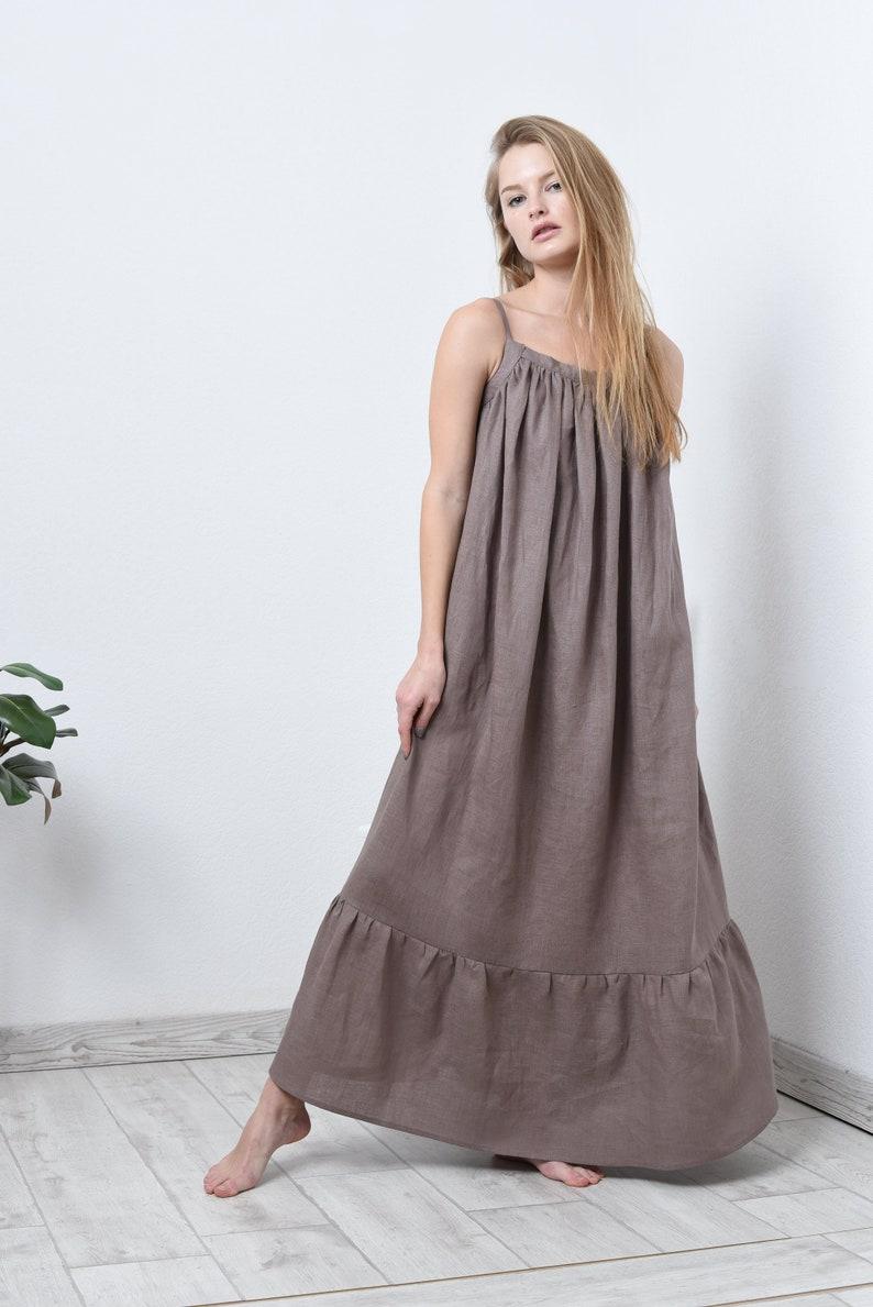15181d7dce9 Maxi linen dress in 17 colors  linen pinafore dress  summer