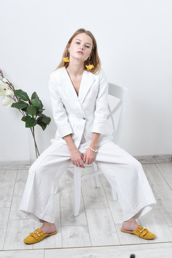 superior performance super cheap compares to fine craftsmanship White linen pants and jacket suit / linen set/ linen suit/ linen pants and  jacket suit women KL002-A