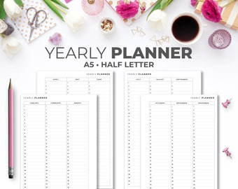 Yearly Planner A5 & Half Letter Inserts   Minimal Printable Yearly Planner Pages