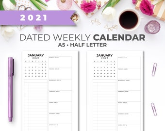 2021 Week on 1 Page Planner A5 & Half Letter Insert   Dated Printable Minimal Weekly On One Page with Calendar Planner Pages